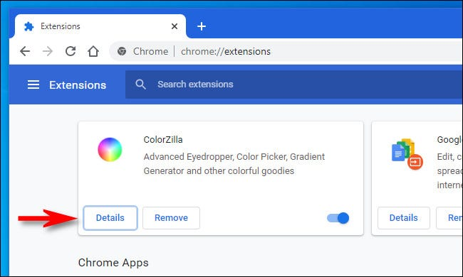 """On the Chrome Extensions page, click """"Details."""""""