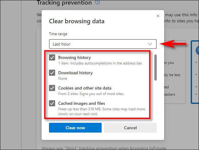 "In the Microsoft Edge ""Clear browsing data"" window, select which aspects of your history you'd like to clear."