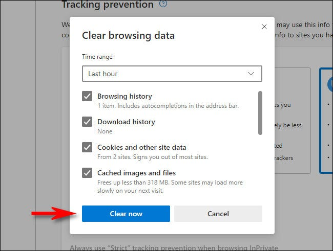 """In the Microsoft Edge """"Clear browsing data"""" window, click """"Clear now."""""""