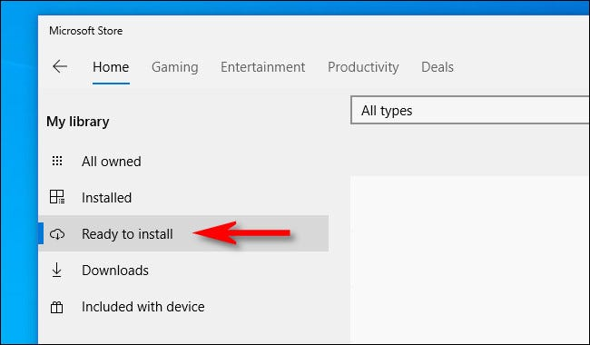 """In the Microsoft Store, click """"Ready to install"""" from the sidebar menu."""