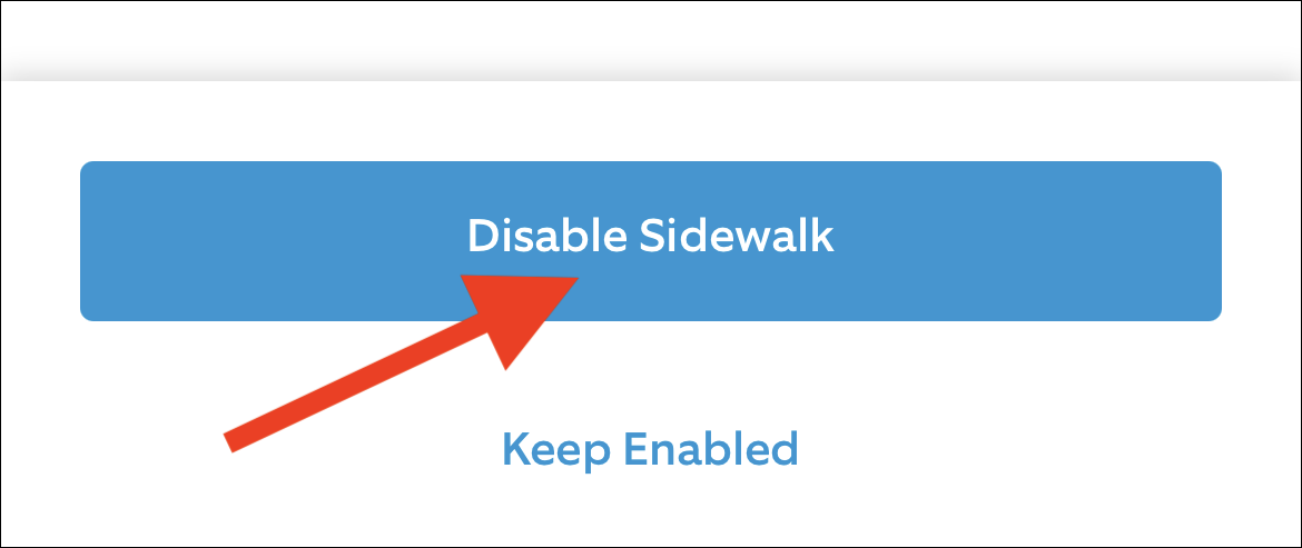 """Confirm you want to opt-out by tapping the """"Disable Sidewalk"""" button"""