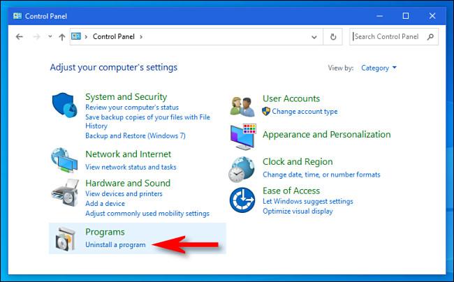 "In Windows Control Panel, click ""Uninstall a program."""