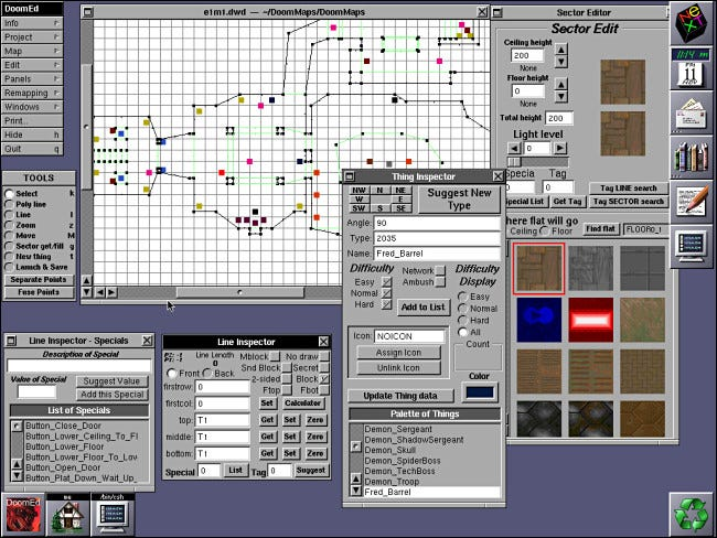 The DoomEd level editor for Doom running on NeXTSTEP.