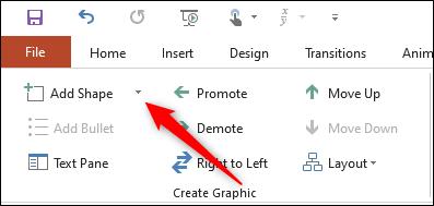 dropdown arrow next to add shape option