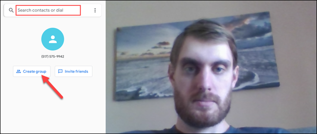 """Search for a contact, phone number, or click """"Create Group"""" to start a video call"""