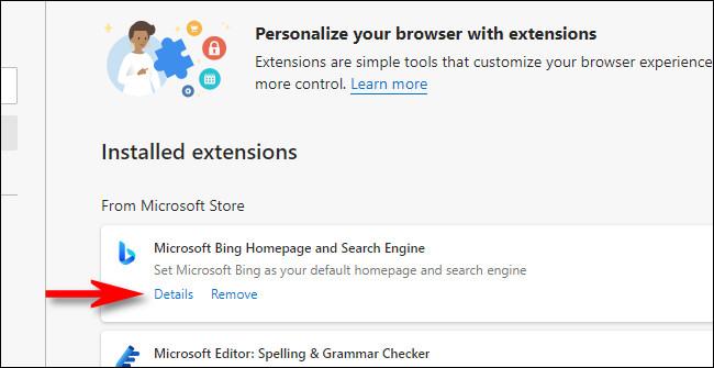 """Na lista de extensões do Edge, clique no link """"Detalhes""""."""