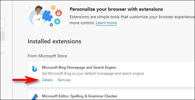 "In the Edge extensions list, click the ""Details"" link."