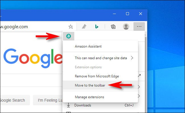 """In Edge, right-click the extension icon and select """"Move to the toolbar."""""""