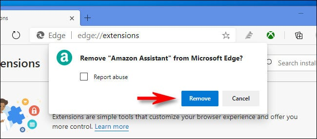 """In Edge, click """"Remove"""" again to confirm removing the extension."""