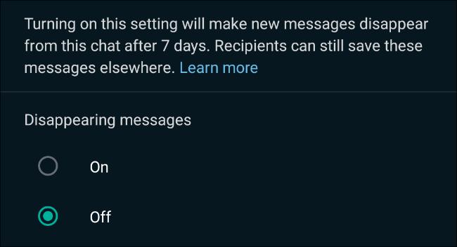 WhatsApp sohbetlerinde kaybolan mesajları etkinleştirin
