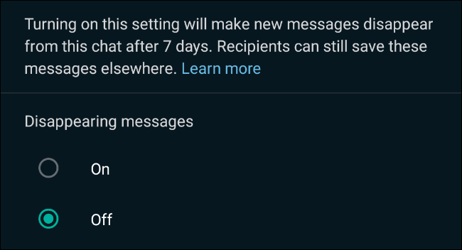 Enable disappearing messages in WhatsApp chats