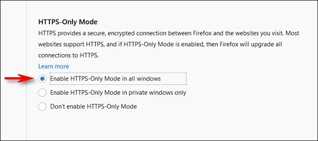 "In Firefox Privacy options, select ""HTTPS-Only Mode in all windows."""