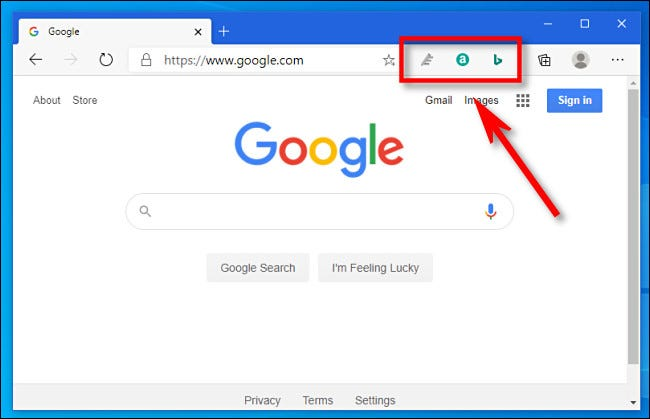 The extensions toolbar in Microsoft Edge.