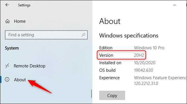 """Look for the """"Version"""" number on the About screen."""