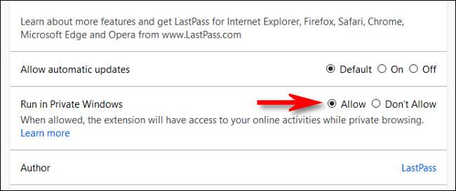 """Na página de gerenciamento de extensões do Firefox, selecione """"Permitir"""" para a opção """"Executar em janelas privadas""""."""