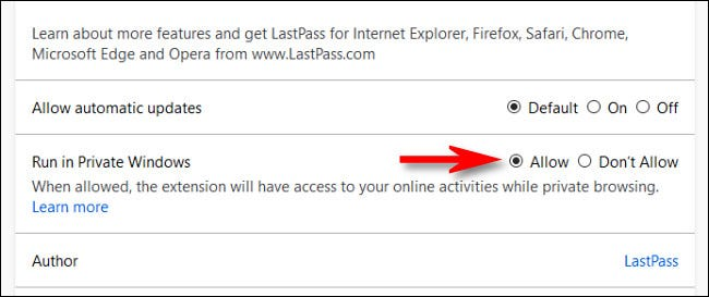 """In the Firefox extension management page, select """"Allow"""" for the """"Run in Private Windows"""" option."""