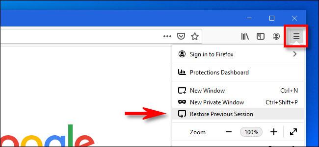 "In the Firefox menu, click ""Restore Previous Session."""