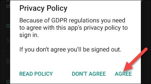 "Tap ""Agree"" after you read the Privacy Policy."