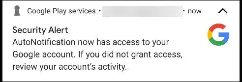 "A Google ""Security Alert."""