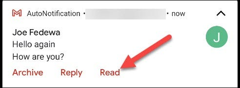 """Tap """"Read"""" in the Gmail notification."""