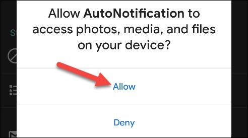 """Tap """"Allow"""" to grant AutoNotification access to your data."""