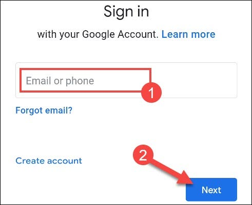 enter account information and tap next
