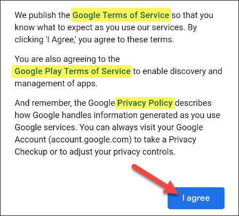 agree to terms of service