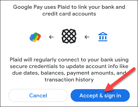 select accept and sign in