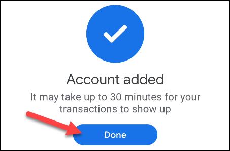 account added screen