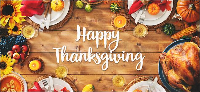 Happy Thanksgiving dinner table