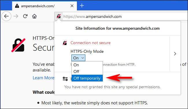 "After clicking the lock icon in Firefox, select ""Off termporarily"" from the HTTPS-Only Mode drop-down menu."