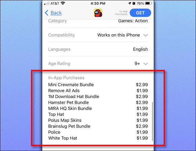 On the iPhone or iPad app store, you'll see a listing of In-App Purchases available for the app