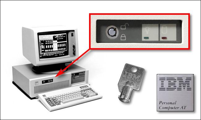 An IBM PC AT, key, and keylock.