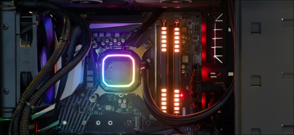 The inside of a desktop PC with RGB lighting.