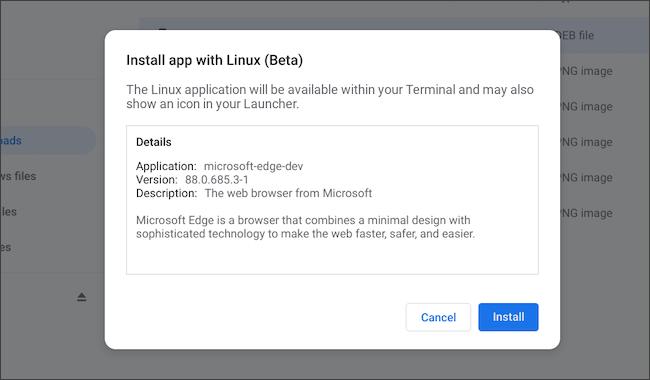 Instale o aplicativo Linux do Microsoft Edge no Chromebook
