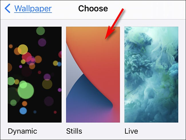 """On the wallpaper select screen, tap """"Stills."""""""