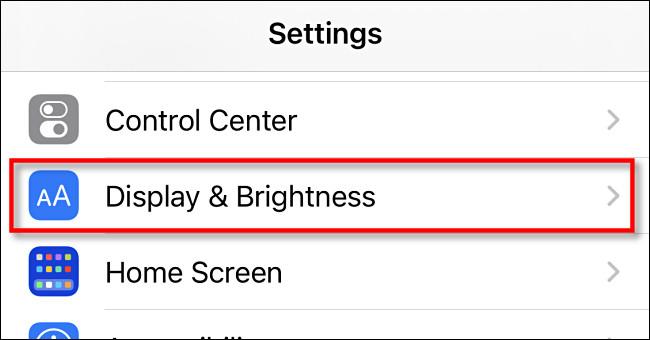 """In iPhone Settings, tap """"Display & Brightness"""""""