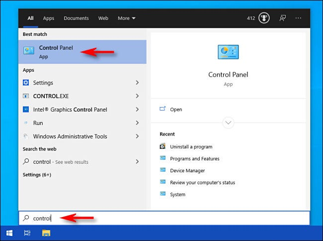 """Open Start menu, type """"control,"""" then select the """"Control Panel"""" icon."""