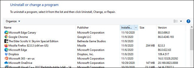 A list of installed programs in Windows Control Panel.