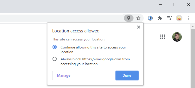Google Chrome pop-up showing location access it allowed on a website.