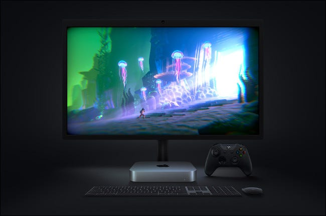 A video game on an Apple Mac mini with M1.