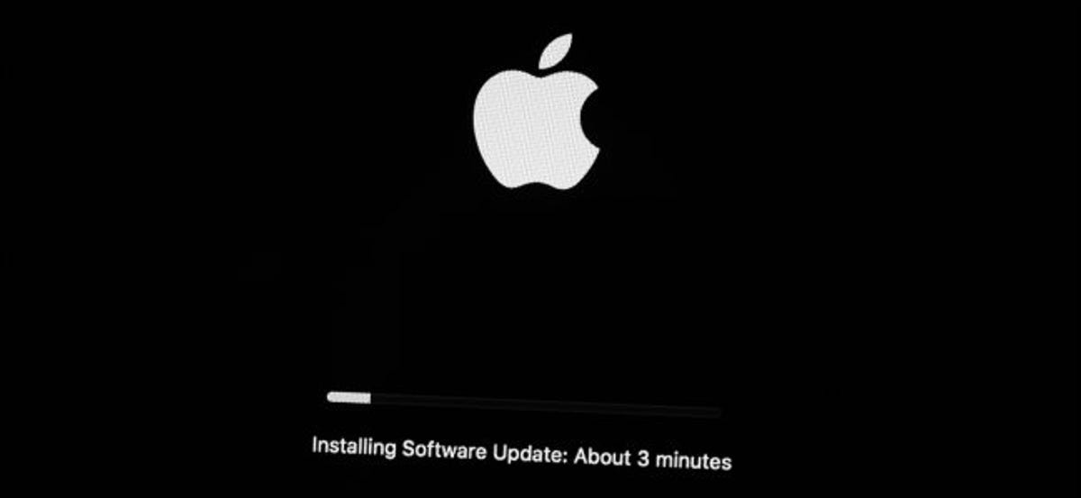A Mac installing an operating system update.