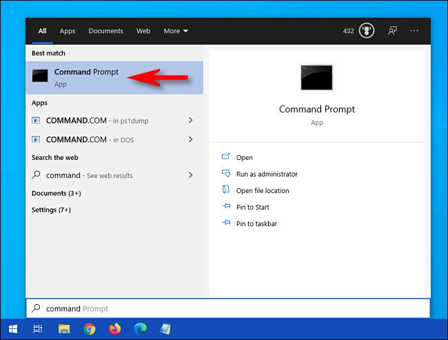 "In Windows 10, fai clic sul menu Start e digita ""comando"", quindi fai clic sull"