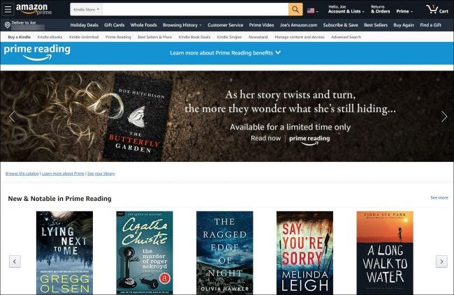 The Amazon Prime Reading home page.