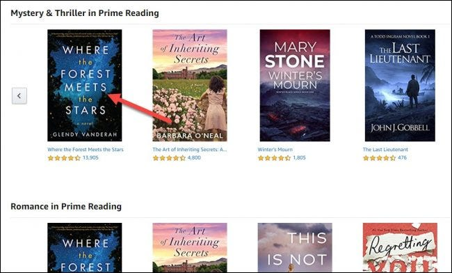 """Select a book on """"Prime Reading."""""""