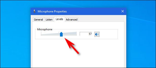 Click the volume slider and use it to adjust the microphone input volume.