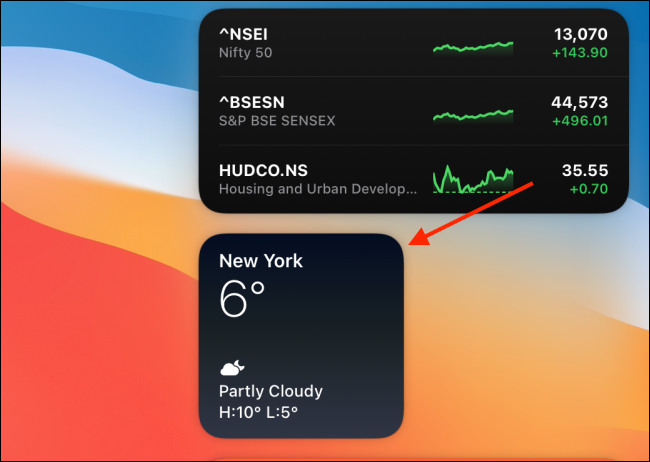 right-click a widget from Notification Center