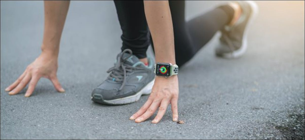 A person about to start a run with an Apple Watch.