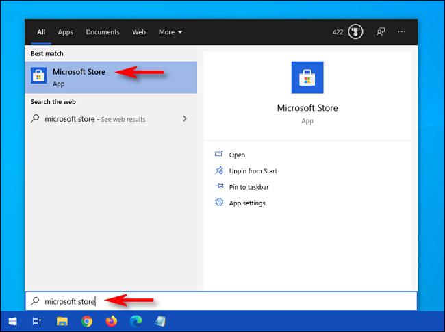 """Abra o menu Iniciar e pesquise """"Microsoft Store"""" e, em seguida, clique no ícone Microsoft Store."""