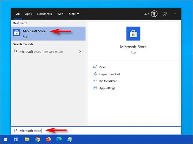 """Open the Start menu and search for """"Microsoft Store,"""" then click the Microsoft Store icon."""